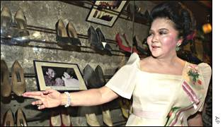 Imelda Marcos with her shoes
