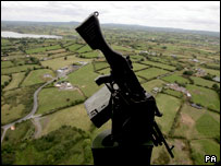 View of South Armagh from a British Army Linx helicopter