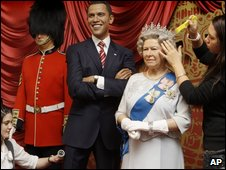 Waxwork models of Barack Obama and Queen Elizabeth at Madame Tussauds in London on 31 March 2009