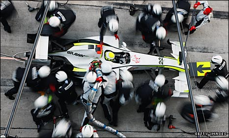 Jenson Button in his Brawn GP car at a pitstop