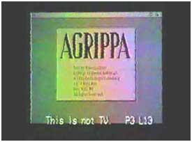 Matching credit and copyright notice at beginning of the 1992 Re:Agrippa remix video