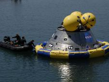 Orion crew exploration vehicle in the water.