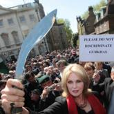 Joanna Lumley joined veteran Gurkha soldiers outside the Houses Of Parliament in London today to protest against their right to stay in the UK.