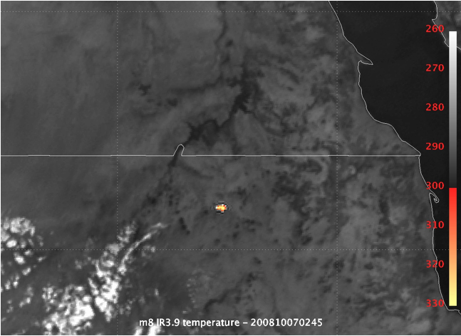 Figure 4.  Meteosat 8 / EUMETSAT infrared image of the 2008 TC3 explosion.