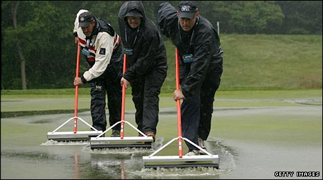 The US Open is called off early on day one of the 109th US Open at Bethpage, New York