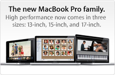The new MacBook Pro family. High performance now comes in 3 sizes: 13-, 15-, and 17-inch.