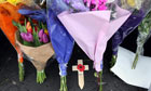Flowers left at the scene of a shooting at Massereene Barracks in Antrim, Northern Ireland