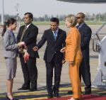 Date: 07/21/2009 Description: Secretary Clinton is greeted by Vice Minister of Foreign Affairs Panich Vikitsreth and his wife upon her arrival to Bangkok, Thailand on Tuesday, July 21, 2009. © State Dept Image