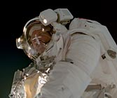 ISS crewmember on a space walk.