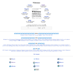 Detail of the Wiktionary main page. All major wiktionaries are listed by number of articles.