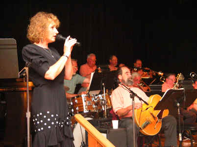 Photo of Vocalist - Sue McEneny and the band August 2003, performing for the Monthly Yachats Big Band Dance