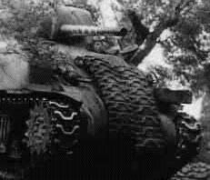 M4 Sherman with spare tracks attached to front