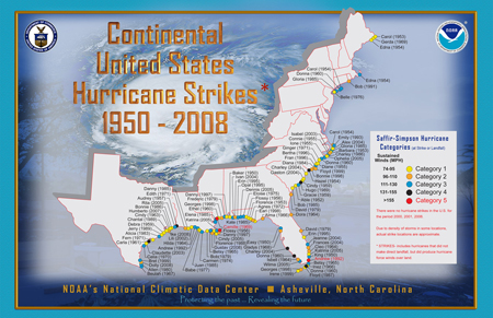 [Map of 1950-2008 U.S. Landfalling Hurricanes]