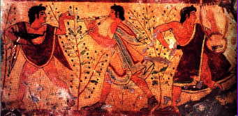 Banqueters in a Tomb Painting from Tarquinia