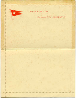 SS Laurentic Letter Card  inside view