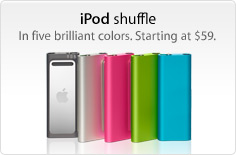 iPod shuffle. In five brilliant colors. Starting at $59.