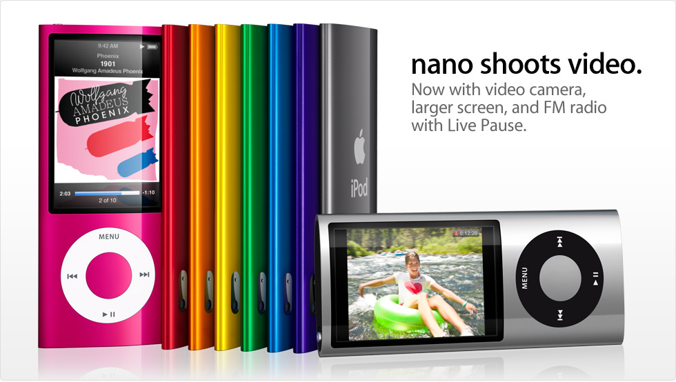 nano shoots video. Now with video camera, larger screen, and FM radio with Live Pause.