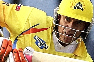 Matthew Hayden of the Chennai Super Kings plays a shot during the 2009 Indian Premier League (IPL) T20 cricket tournament against the Kings Punjab in Centurion. PHOTO: Reuters