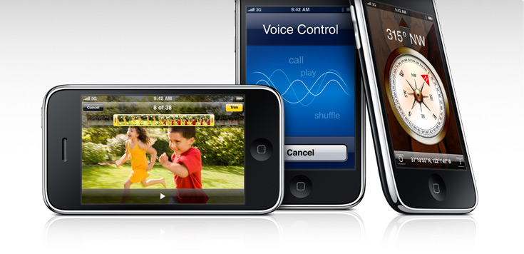 Images of the iPhone 3GS video recording interface, the Voice Control screen, and the built-in digital compass.