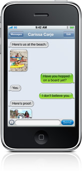 An MMS conversation with photos and video on iPhone 3GS.