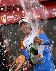 Ryder Hesjedal celebrating his Vuelta stage win