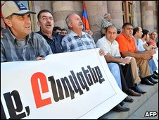 Members of the Armenia's Dashnaktsutyun political party hold a protest and hunger-strike against the terms of a Swiss-brokered deal on normalising Armenian-Turkish relations in Yerevan on 15 September, 2009.