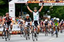 Martin Gilbert (Planet Energy) sprints to a stage win in Missouri.