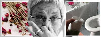 Montage: Frau hält sich nase zu, Räucherstäbchen und Raumluftspray