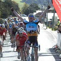 An elated Luke Durbridge (Jayco/AIS) takes out the second stage of the tour into Mole Creek.