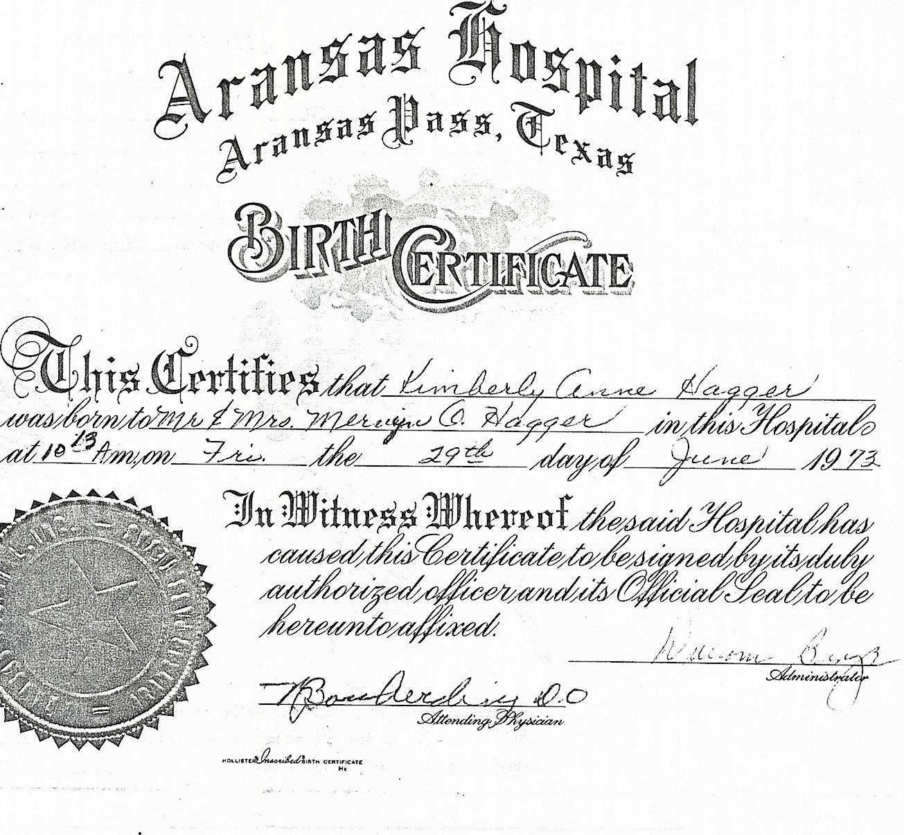 The original birth certificate of Kimberly Anne Hagger