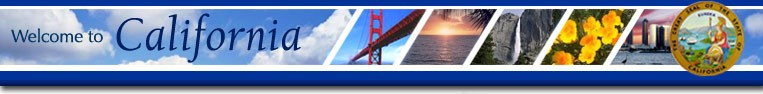 Welcome to California - images of Golden Gate Bridge, ocean sunset, waterfall, flowers, and city skyline