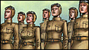 Cartoon 'Night Witches', female Russian WWII pilots