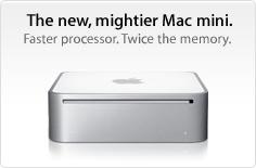 The new, mightier Mac mini. Faster processor. Twice the memory.