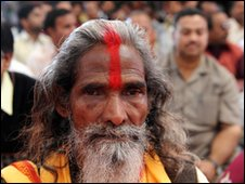 A Hindu holy man takes part in a memorial service for victims of the 1984 gas disaster in Bhopal, India.