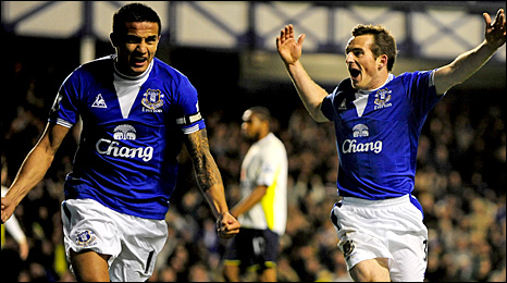 Tim Cahill (left) celebrates after