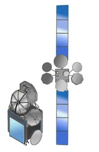 Artist rendering of MeaSat 3 satellite shown stowed and deployed.