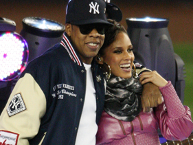 Jay-Z and Alicia Keys at Yankee Stadium Thursday