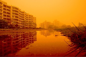 The red dust storm covered Sydney