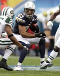 Jets Chargers Football - Vincent Jackson, Kerry Rhodes, Bart Scott