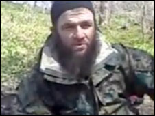 Doku Umarov delivers his video message. Image from kavkazcenter