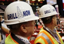 Members of the Alaska delegation, wearing hard hats calling for more oil drilling in their state, wait for the start of the second session of the 2008 Republican National Convention in St. Paul, Minnesota September 2, 2008. REUTERS/Mike Segar