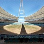View taken on April 7, 2010 shows the Moses Mabhida stadium in Durban where workers began to work on pitch