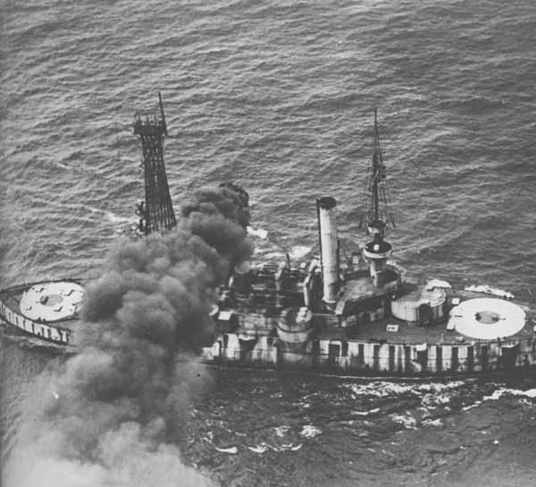 Ex-USS Iowa, Radio Controlled Fleet Target Ship with guns removed. Smoke due to poor firing of her automatic fuel oil burners. Nobody on board.
