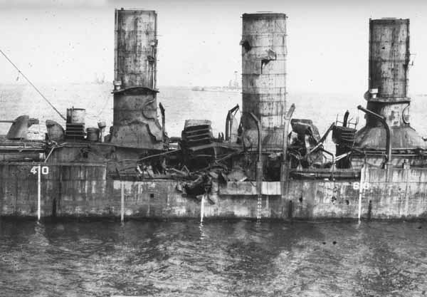Close-up of the Ex-German Cruiser Frankfurt after bombing with 250, 300 and 520 pound bombs.