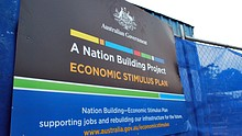 Rudd Government economic stimulus plan sign