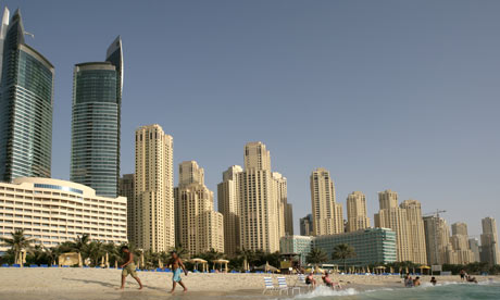 A beach in Dubai with artificial elements