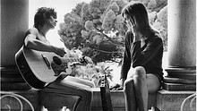 Keith Richards and Gram Parsons at Villa Nellcote in black and white