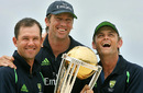 A trio of winners: Ricky Ponting, Glenn McGrath and Adam Gilchrist with the World Cup trophy, Bridgetown, Barbados, April 29, 2007