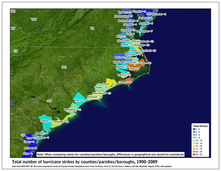 [Map of 1900-2009 Hurricane Strikes by U.S. counties/parishes (Southeast)]