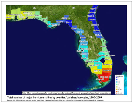 [Map of 1900-2009 Major Hurricane Strikes by U.S. counties/parishes (East Gulf)]